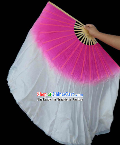 Pink and White Classic Silk Dance Fan