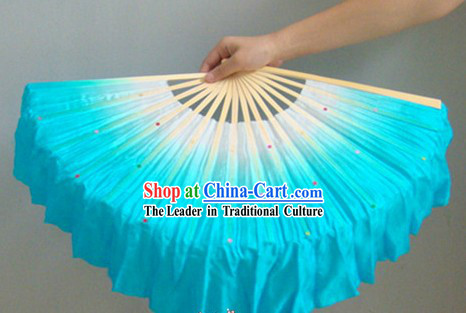 Chinese Color Transition White and Blue Sequins Silk Dance Fan