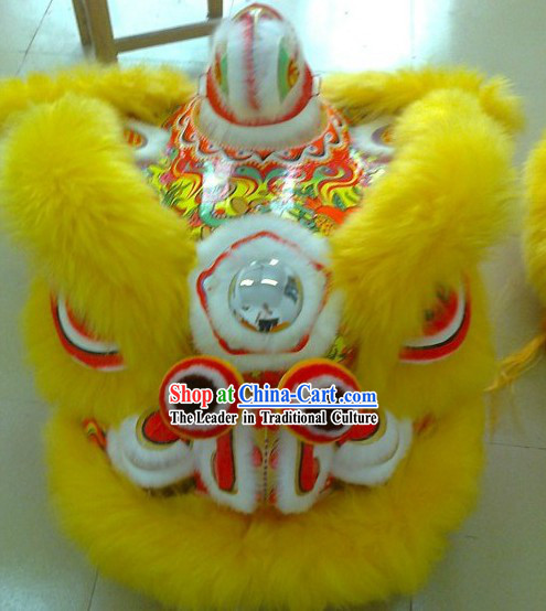 Supreme Yellow Long Wool Competition and Parade Lion Dance Costume Complete Set