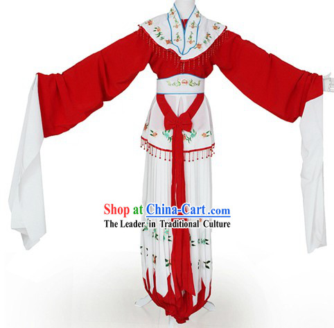 Ancient Chinese Long Sleeve Hua Dan Female Dance Costumes Complete Set