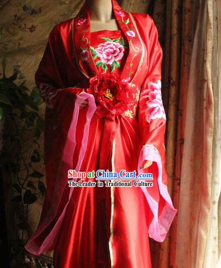 Red Flower Wedding Attire Complete Set for Women