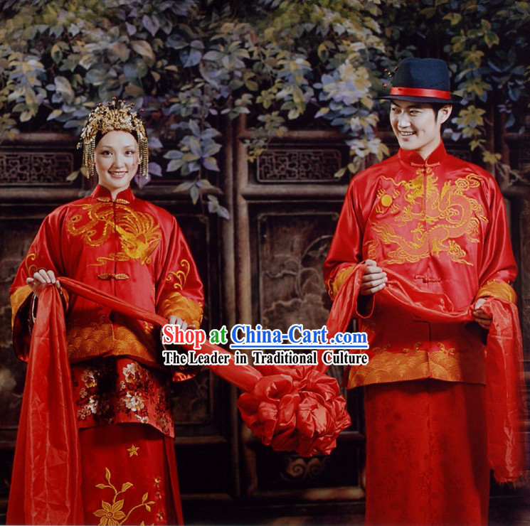 Chinese Gorgeous Ancient Wedding Dress 2 Complete Sets for Bride and Bridegroom