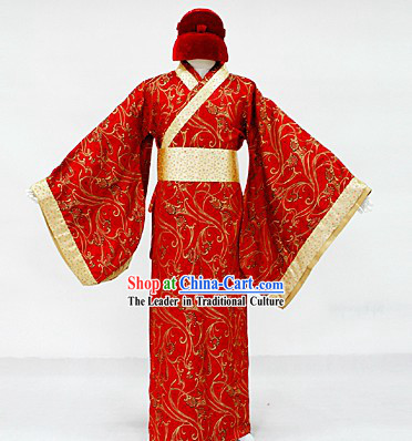 Ancient Chinese Wedding Dress and Hat for Bridegroom