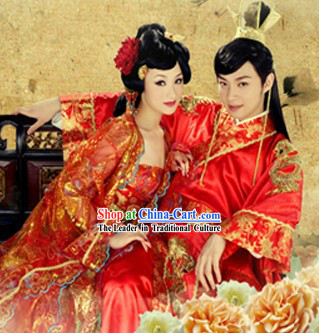 Ancient Chinese Wedding Clothes Two Sets and Hair Accessories for Bride and Bridegroom