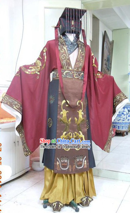 Ancient Chinese Palace Emperor Clothes and Hat Complete Set