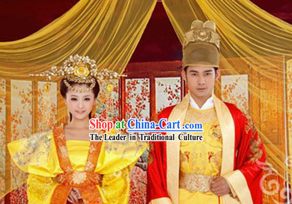 Chinese Emperor and Empress Wedding Dresses Two Sets for Bride and Bridegroom