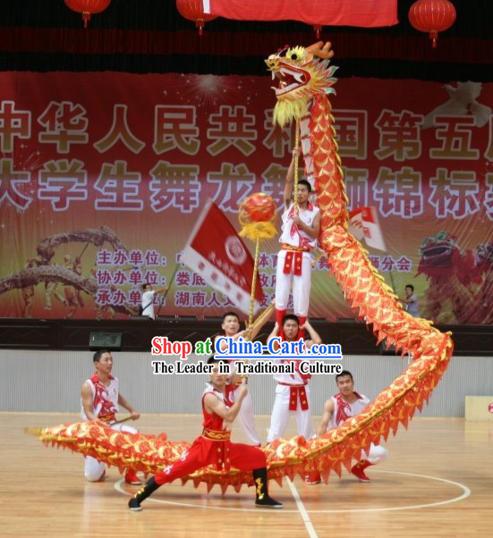 Competition and Parade Peking Net Dragon Dance Costumes Complete Set for Adults