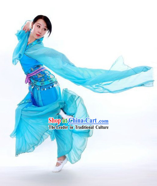 Blue Long Sleeve Classical Dancing Costumes for Women