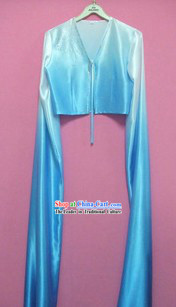 Blue Color Transition Water Sleeve Dance Costumes