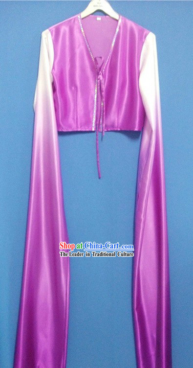 Purple Color Transition Water Sleeve Dance Costumes