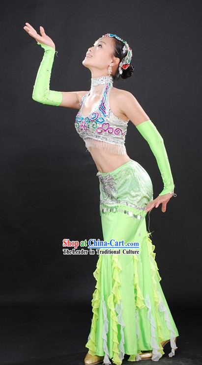 Chinese Ethnic Dai Dance Costumes Complete Set for Women