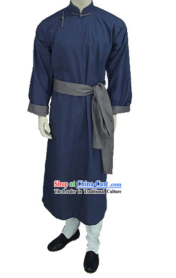 Traditional Deep Blue Chinese-style Long Gown for Men