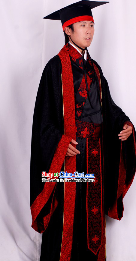 Ancient Chinese Big Event Ceremonial Clothing and Hat Complete Set for Men