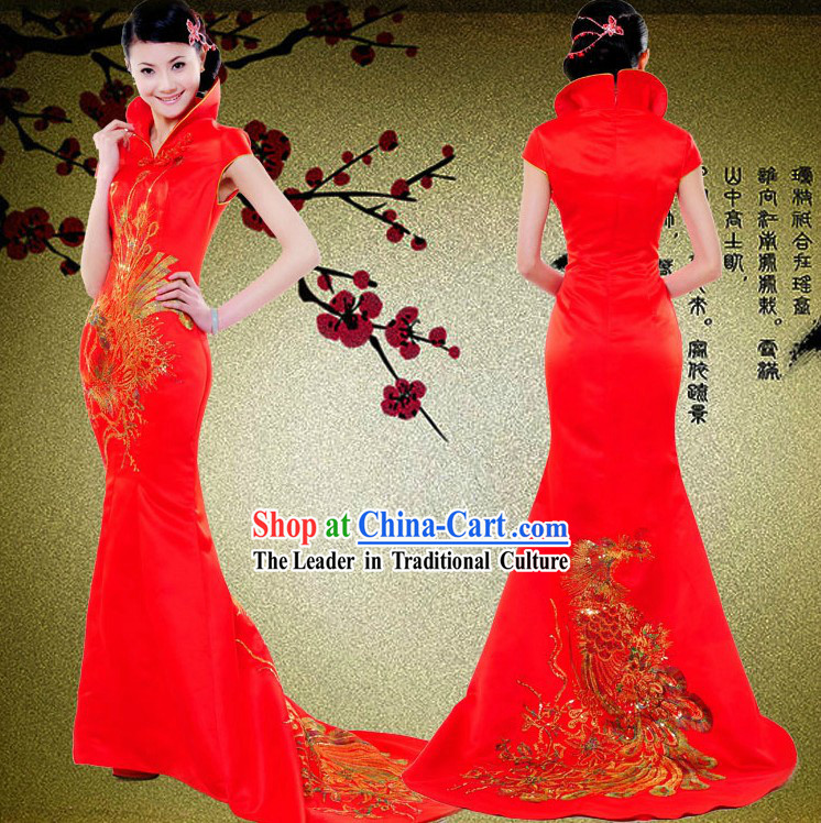 High Collar Traditional Chinese Red Phoenix Wedding Dress for Brides
