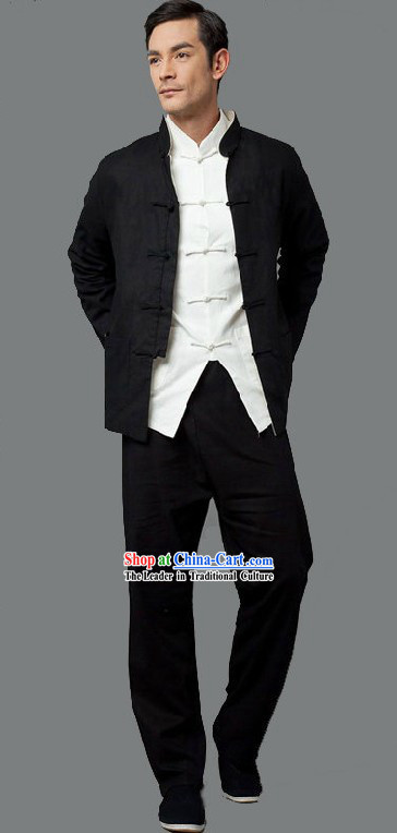Bruce Lee Li Xiaolong Kung Fu White Shirt Black Blouse and Pants Clothes and Shoes Complete Set