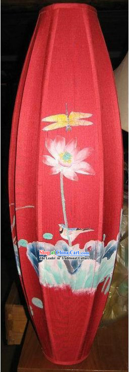 Chinese Classic Handmade and Painted Red Silk Hanging Lantern
