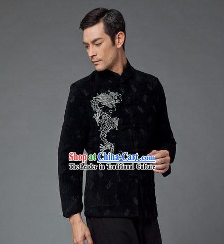 Chinese Stunning Black Dragon Suit for Man