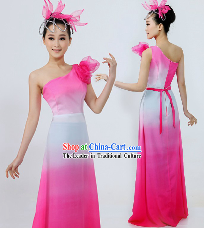Chinese Pink and White Color Transition Group Dance Costume and Headpiece