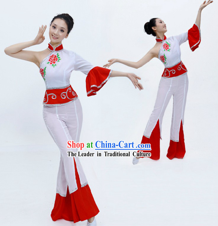 Traditional Chinese Fan Dancing Costume for Girls