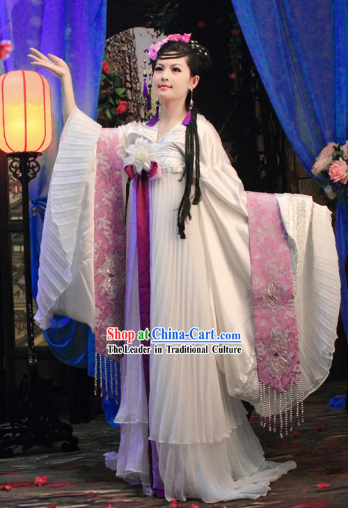 Ancient Chinese Princess Wide Sleeve White Clothing and Hair Accessories