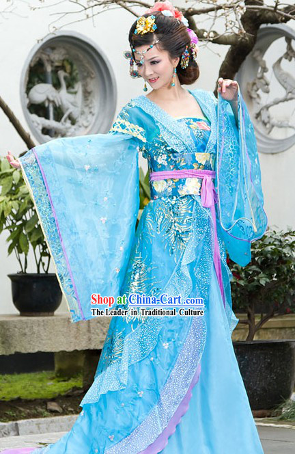Traditional Chinese Blue Princess Clothing
