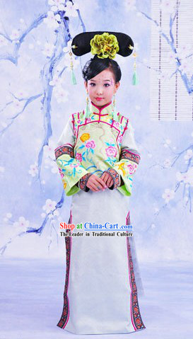 Traditional Chinese Imperial Princess Clothing and Headpiece for Children