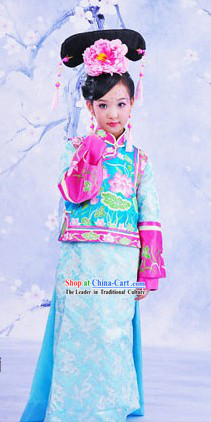 Traditional Chinese Princess Embroidered Lotus Clothing and Hat for Kids