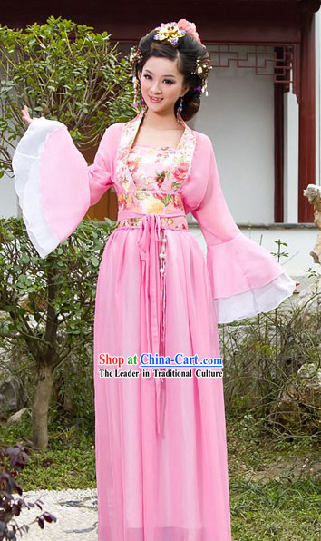 Traditional Chinese Pink Wide Sleeve Clothing for Women