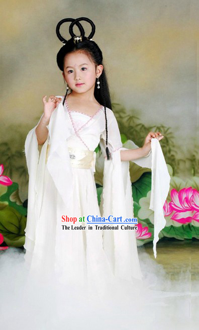Ancient Chinese Xiao Long Nv White Fairy Costume and Wig for Children