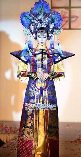 Ancient Chinese Empress Stage Performance Costume and Headpiece