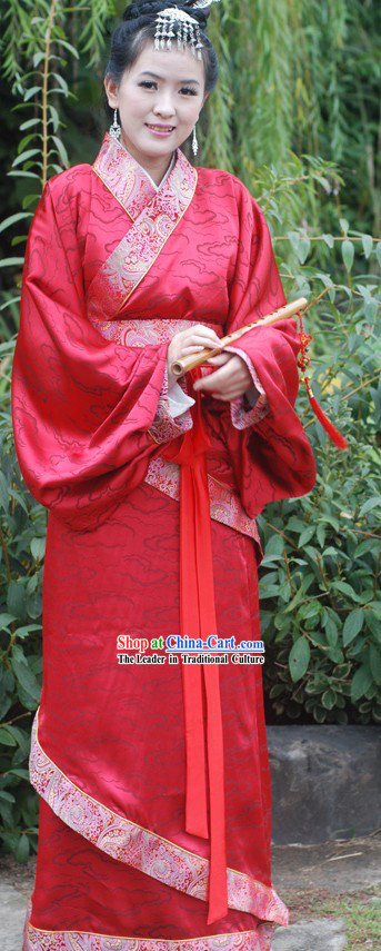 Ancient Chinese Red Auspicious Cloud Wedding Dress for Women
