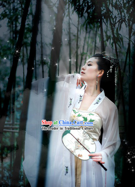 Ancient Chinese Bai Suzhen Fairy White Costume for Women