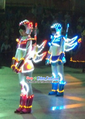 Custom Made EL Wire Luminous Costumes Complete Set