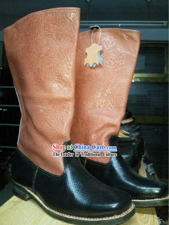 Handmade Mongolian Cowhide Long Boots for Men