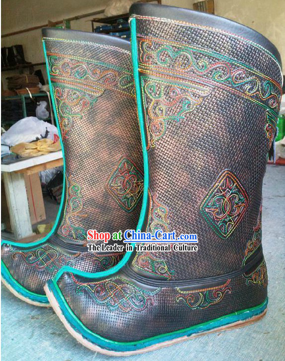 Handmade Classic Mongolian Cowhide Long Boots for Men