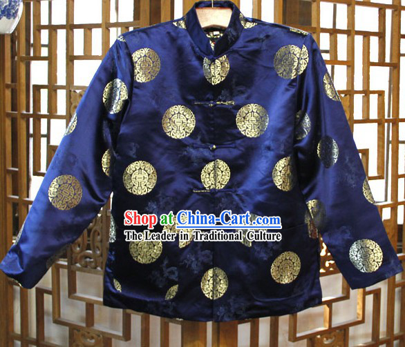 Traditional Chinese Blue Mandarin Blouse