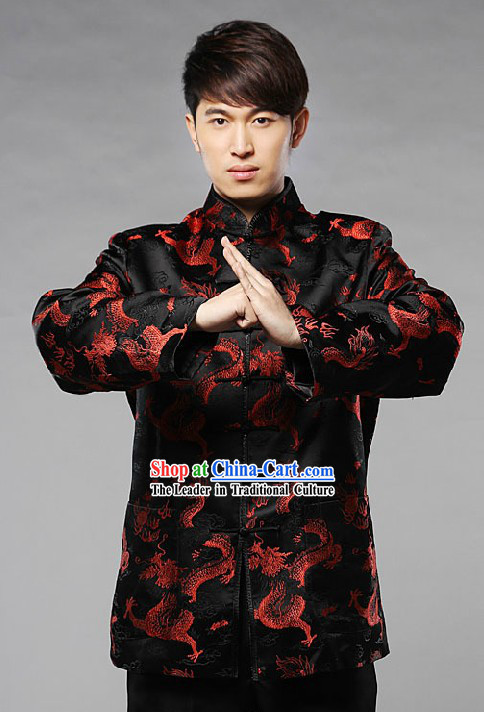 Traditional Chinese Black Blouse with Red Dragon