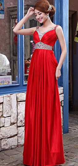 Traditional Chinese Celebrity Red Wedding Evening Dress