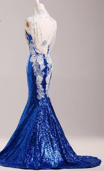 Stunning Chinese Long Tail Blue Evening Dress