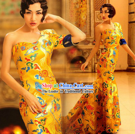 Chinese Classical Golden Dragon Wedding Dress for Women