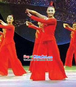 Chinese Red Modern Dance Costume for Women