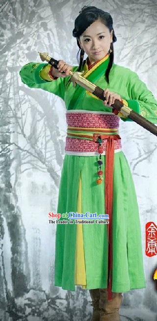 Ancient Chinese Green Kung Fu Costumes for Women