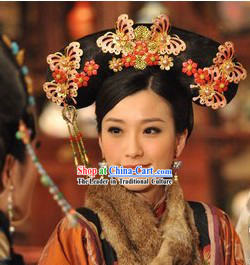 Traditional Chinese Qing Dynasty Princess Manchu Wig and Butterfly Hair Accessories