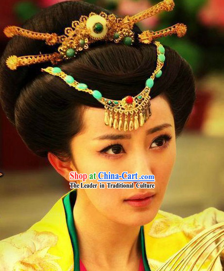 Ancient Chinese Handmade Princess Hair and Forehead Accessories Complete Set