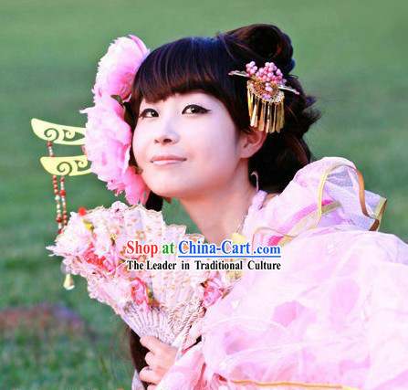 Ancient Chinese Pink Princess Headpiece Set for Women