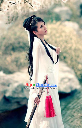 Ancient Chinese White Knight Clothes for Women