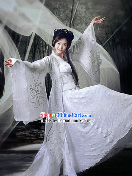 Ancient Chinese Artist Dancer White Flower Costume