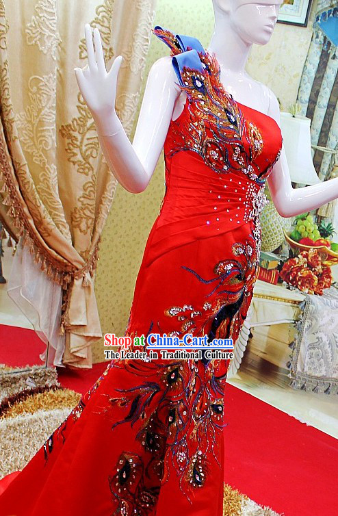 Chinese Classical Red Phoenix Long Evening Dress