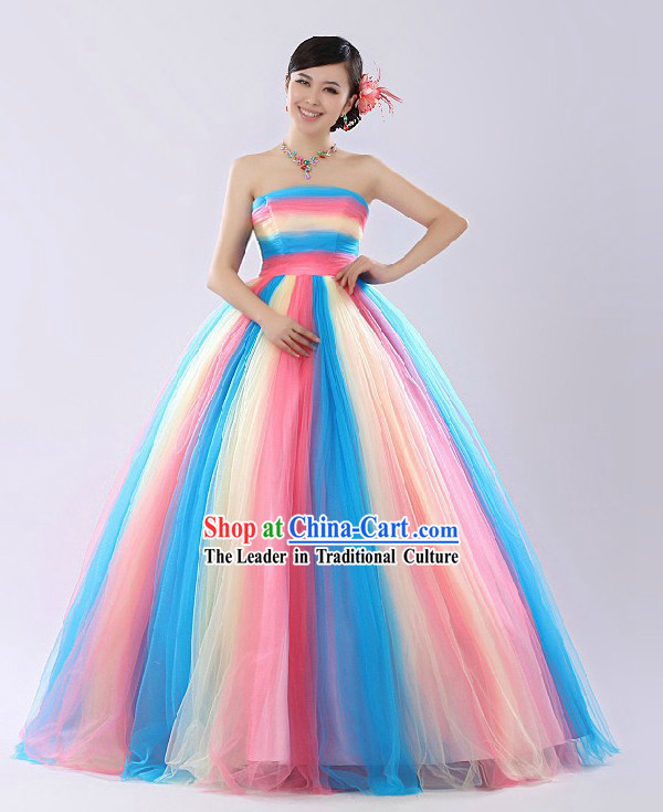 Chinese Rainbow Color Evening Dress