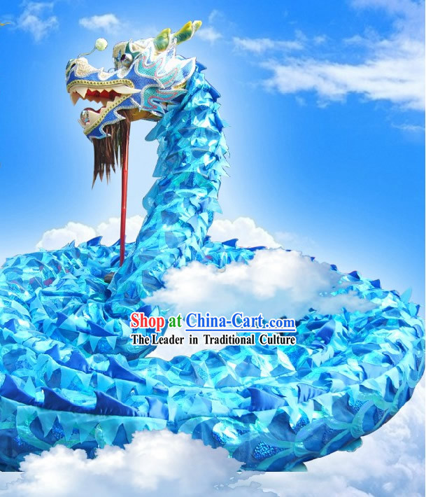 Blue Dragon Head and Body Dance Costume Complete Set